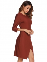 Wine red 3/4 Sleeve Solid Split Hem Business Dress