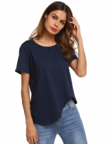 Navy blue Short Sleeve O Neck Solid Asymmetrical Hem T-Shirts