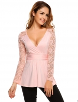Pink Surplice Neck Lace Patchwork Ruched Peplum Hem Tops