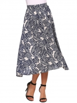 Blue Elastic High Waist Printed Midi Skirt