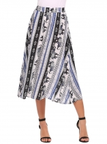 Light blue Elastic High Waist Printed Midi Skirt