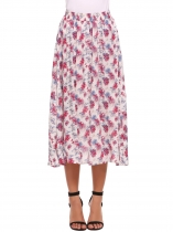 Red Elastic High Waist Printed Midi Skirt