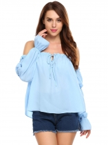 Baby Blue Slash Neck Off the Shoulder Long Sleeve Loose Chiffon Tops