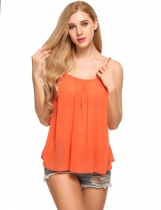 Orange Strap Back Hollow Chiffon Loose Fit Camisole