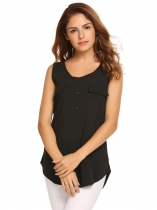 Black Sleeveless Round Hemline O-Neck Solid Tank Top