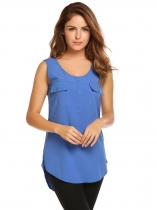 Blue Sleeveless Round Hemline O-Neck Solid Tank Top