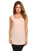 Pink Sleeveless Round Hemline O-Neck Solid Tank Top