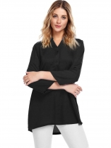 Black Long Sleeve V-Neck Solid Loose Chiffon Blouse