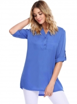 Blue Long Sleeve V-Neck Solid Loose Chiffon Blouse