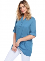 Blue gray Long Sleeve V-Neck Solid Loose Chiffon Blouse