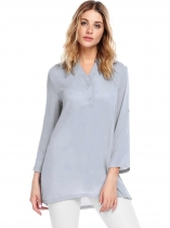 Light gray Long Sleeve V-Neck Solid Loose Chiffon Blouse