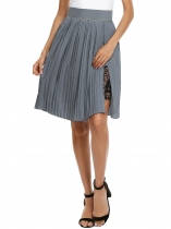Grey High Waist Split Pleated Lace Patchwork Skirt with Lining
