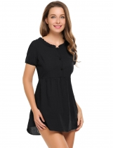 Black Solid Buttoned O-Neck Short Sleeve Tunics