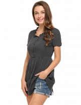 Dark gray Solid Buttoned O-Neck Short Sleeve Tunics