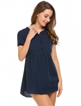 Navy blue Solid Buttoned O-Neck Short Sleeve Tunics