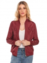 Wine red Stand Collar Long Sleeve Zipper Lightweight Jacket with Side Pockets