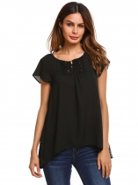 Black Short Sleeve Lace Chiffon Patchwork Irregular Hem Loose Blouse