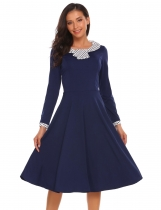 Navy blue Long Sleeve Dot Patchwork Fit and Flare Dress