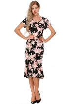 Black Vintage Floral V Neck Pencil Dress
