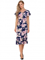 Navy blue Vintage Floral V Neck Pencil Dress
