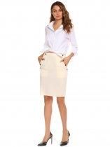 Beige Solid High Waist Buttons Pencil Skirt with Pockets