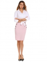 Pink Solid High Waist Buttons Pencil Skirt with Pockets