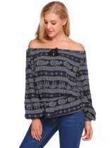 Dark blue Print Drawstring Slash Neck Long Lantern Sleeve Tops