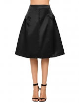 Black Retro Style Solid Button Fake Pocket A-Line Skirt