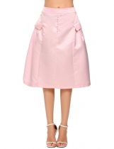 Pink Retro Style Solid Button Fake Pocket A-Line Skirt