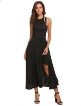 Black Women Casual Halter Sleeveless Asymmetrical Hem A-Line Pleated Swing Sexy Dress