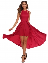 Wine red Women Casual Halter Sleeveless Asymmetrical Hem A-Line Pleated Swing Sexy Dress