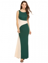 Dark green Casual Backless U Neck Sleeveless Patchwork Long Dress