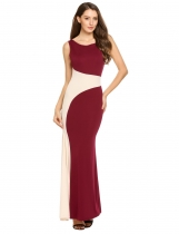 Wine red Casual Backless U Neck Sleeveless Patchwork Long Dress