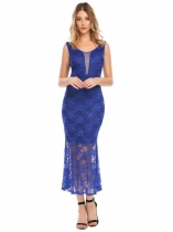 Dark blue Women Casual V-Neck Sleeveless Lace Floral Package Hip Sexy Back Zipper Dress