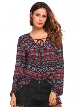 Multi-color1 Printed Drawstring V-Neck Long Sleeve Asymmetrical Hem Tops