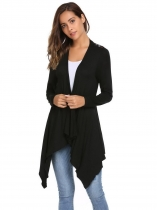 Black Back Lace Patchwork Front Open Asymmetrical Hem Cardigan