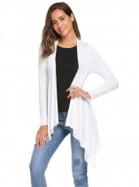 White Back Lace Patchwork Front Open Asymmetrical Hem Cardigan