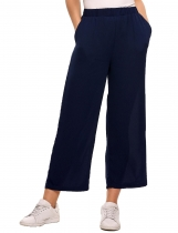 Dark blue Elastic Waist Solid Loose Fit Chiffon Pants with Pocket