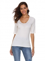 White MEANEOR Women Half Sleeve Solid Back Lace-up Split Casual T-Shirt