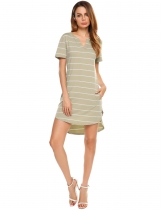Khaki Notch Neck Striped High Low Hem Dress