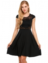 Black Lace Patchwork Cap Sleeve A-Line Short Dress