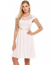 Blanco Mujeres Hollow Lace Patchwork Cap Manga A-Line Cocktail Vestido corto