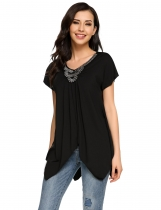 Black Beads V-Neck Patchwork Asymmetry Hem Short Sleeve Tops