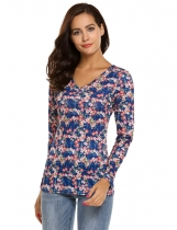 Blue Floral Print V-Neck Long Sleeve Slim Tops