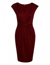 Wine red V Neck Knot Tie Front Ruched Pencil Dress