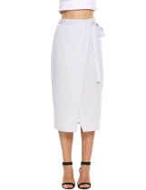 Light gray Bandage Waist Split Package Hip Pencil Skirt