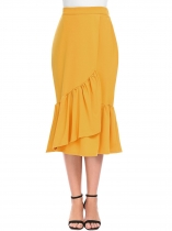 Yellow Women High Waist Split Front Slim Fit Asymmetrical Ruffles Hem Midi Skirt