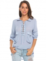 Blue Women V-Neck Long Sleeve Lace-Up Pockets Shirt