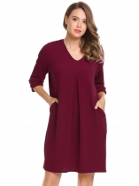 Wine red 3/4 Sleeve Solid Pockets Loose Dress