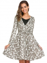 Dark brown Long Sleeve Print Patchwork V Neck Dress